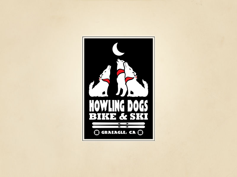 Howling Dogs Bike and Ski logo design