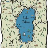Hand-drawn Full Lake Tahoe Map Illustration