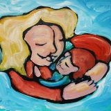 Hand-painted illustration of motherhood