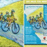 Hand painted image of bicyclists created for the use of this benefit poster.