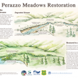 Perazzo Restoration Interpretive Sign with science illustration and graphic design