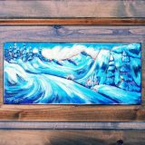 Alpine Mornings, acrylic on cabinet door (ready to hang); 17.75in x 27in; $275