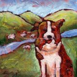 The Shepherd (Australian Shepherd), Acrylic on canvas- 6 in x 6 in- SOLD