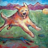 Bounce! (Golden Retriever), Acrylic on canvas – 16 in x 20 in- SOLD