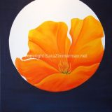 California Poppy with Moon Meditation, Acrylic on Canvas- 30 in x 24 in – Not For Sale