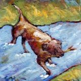 River Dog (Chocolate Lab), Acrylic on canvas- 6 in x 6 in- SOLD