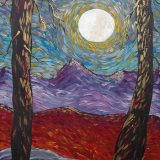 Dancing Moon, 24 in x 36 in, Acrylic on Masonite (unframed) – $350