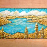 Donner Lake Light – acrylic on reclaimed cabinet door – 26.75 in x 15.25 in. – $325