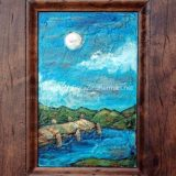 Donner Dock 1 – Late Spring, acrylic on reclaimed cabinet door – SOLD