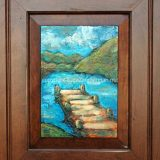 Donner Dock 2 – Summer, acrylic on reclaimed cabinet door – SOLD