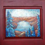 Donner Lake Fall Skies, 23.5 in w x 22.75 in, acrylic on recycled cabinet door, framed -SOLD