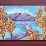 Donner Lake Dock in Fall, 23.75 in x 35 in, acrylic on recycled cabinet door -SOLD
