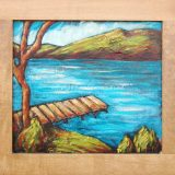 Donner Lake in Summer, acrylic on reclaimed cabinet door, 18in x 19.5 in – $500