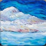 Donner Lake Triptych, 10 in x 10 in acrylic on acrylic panels mounted to a black frame at 16 in x 36 in – SOLD