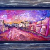 Downtown Truckee at Sunset, Mixed media on wood- Framed: 15.5 in x 26.75 – SOLD