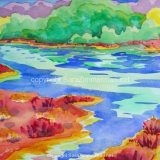 Elkhorn Slough, No.1, Watercolor on Paper- 10 in x 14 in -SOLD