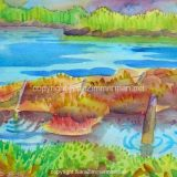Elkhorn Slough, No. 2, Watercolor on Paper- 10 in x 14 in -SOLD