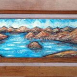 Emerald Bay Summer 1, acrylic on reclaimed cabinet door, 23 in x 11.75 in – $250