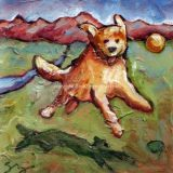 Jump! (Golden Retreiver), Acrylic on canvas- 6 in x 6 in – SOLD
