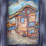 Sierra Sun, Acrylic and newspapers on recycled cabinet door- Framed: 14.5 in x 11.5 in – SOLD