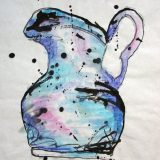 Sunset Pitcher, Mixed Media on Paper- 17 in x 16 in – $100