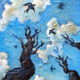 Swallows (Study), Acrylic on Canvas- 8 in x 6 in -SOLD