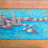 Tahoe Subtleties – acrylic on reclaimed cabinet door – 26.75 in x 15.25 in. – $325
