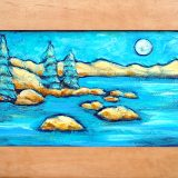 Tahoe Subtleties, acrylic on wood, framed at 26.75inx15.25in, $325