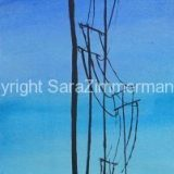 Telephone Poles, Watercolor and Ink on Paper- 16.25 in x 5.2 in – $175