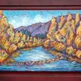 Truckee River in Fall, 23.75 in x 35 in, acrylic and paper on recycle cabinet door, framed – $750