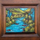 Truckee River in Summer, acrylic on reclaimed cabinet door, 20.5in x 18.5in – $450