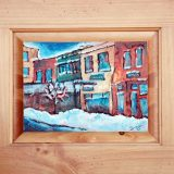 Truckee Shopfronts in Winter, Acrylic and recycled materials on recycled cabinet door, Framed: 17.75 in x 21 in – SOLD