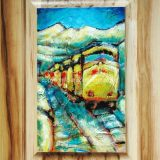 Truckee Train No. 2, 19.75 in x 14.75 in, acrylic and paper on recycled cabinet door, framed – SOLD