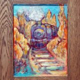 Truckee Train No. 3, 19.5 in x 14.75 in acrylic and paper on recycled cabinet door, framed – $200