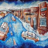 Truckee Winter, Acrylic and recycled papers on canvas- 30 in x 40 in – SOLD