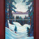 Winter Lake Side, 35 in x 23.75 in, acrylic on recycled cabinet door, framed – SOLD