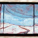 Winter Path, Acrylic on 3 canvases, Framed: 8.5 in x 20.5 in – SOLD