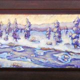 Winter Sunrise – 19.75 x 32.75 in, acrylic on recycled cabinet door – $650