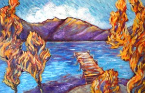 Donner Lake Dock in Fall by Sara Zimmerman