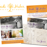 I created a hand drawn painted tree to be used in Heidi Huber's logo. Later, I created a full identity for her, incorporating her beautiful imagery into business cards, ads, thank yous and a website at heidihuberphotography.com