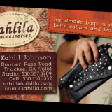 Amazing leather-worker, Kahlil Johnson of Kahlila, had a very plain card that did not show off the style of this very talented artist. I brought through the elements of leather and beauty of her designs into her new business cards.