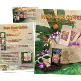 Coffee branding for Papa Kona, including flyers and sales sheets.