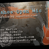 I revitalized the look of Tahoe Open Mic, bringing through the feel of the grungy music scene. The identity and business card I made for Tahoe Open Mic also integrates hand-drawn elements in this design.