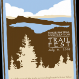 Tahoe Rim Trail Association wanted a unique design for their t-shirts and posters that would attract people to their event. I brought in natural colors into this 3-color, t shirt design since most hikers of the area wear these colors. I helped make color suggestions and worked with their printer to make the process easier for them.