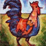 Julie's Rooster, mixed media on panel