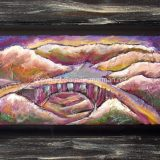 Rainbow Bridge, mixed media on recycled cabinet door.