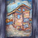 Sierra Sun, mixed media on cabinet. I used pieces from the Sierra Sun newspaper to add to the layers of this commissioned artwork.