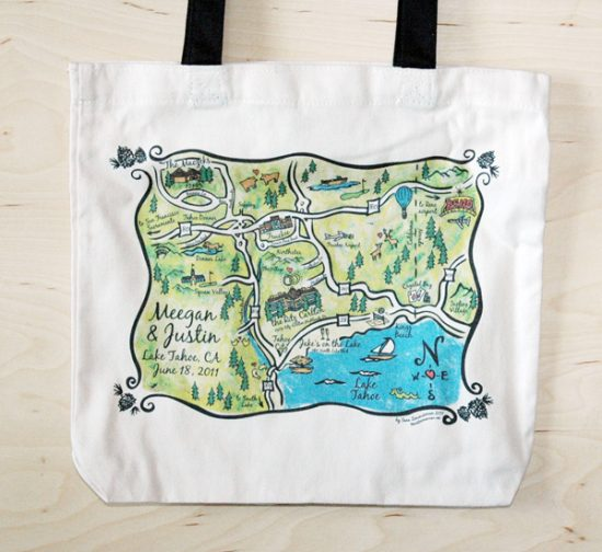 Tahoe map bag as a wedding favor