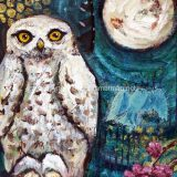 Arctic Owl (My Love), mixed media on canvas, framed at 11 in x 14 in – SOLD