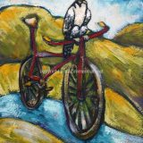 Love My Bike, acrylic on paper, framed at 11 in x 14 in – SOLD